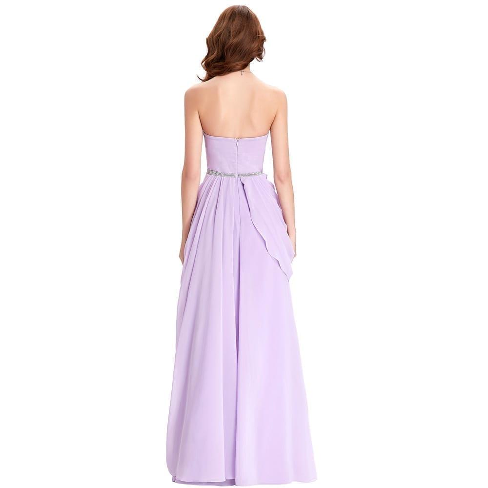 Purple Lavender Long Chiffon Floor Length Bridesmaid Dress