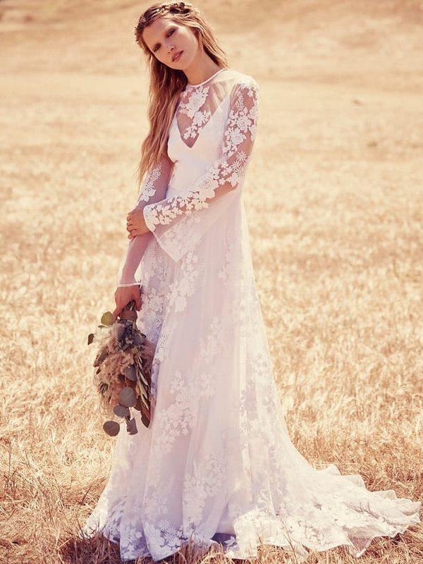 Long Sleeve Lace Appliques Vintage Bohemian Wedding Dress ...