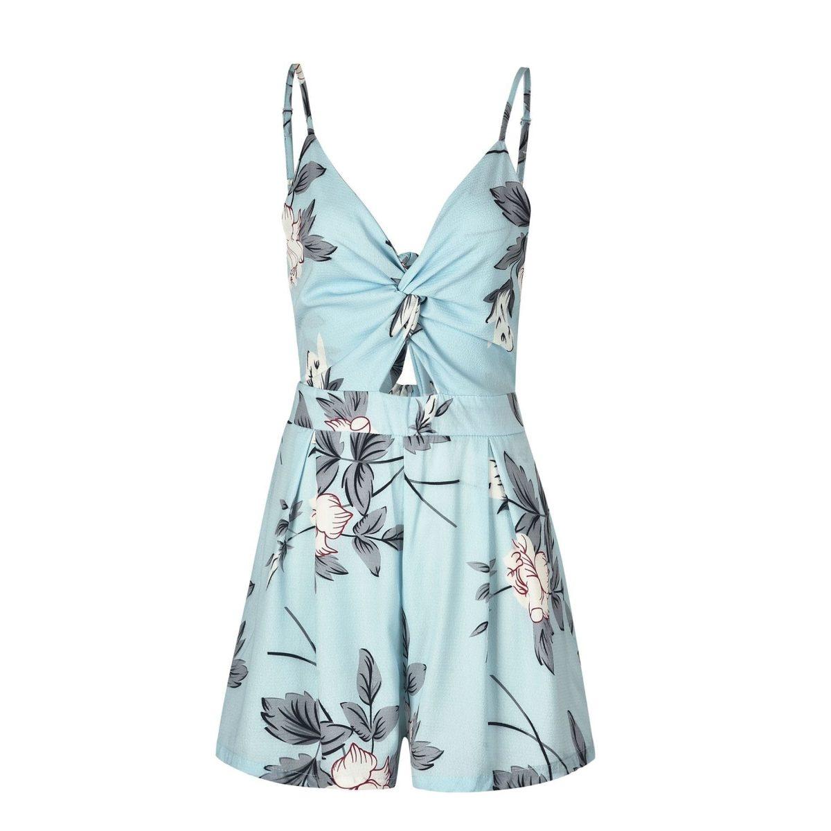 Elegant Bow V-neck Print Loose Jumpsuit