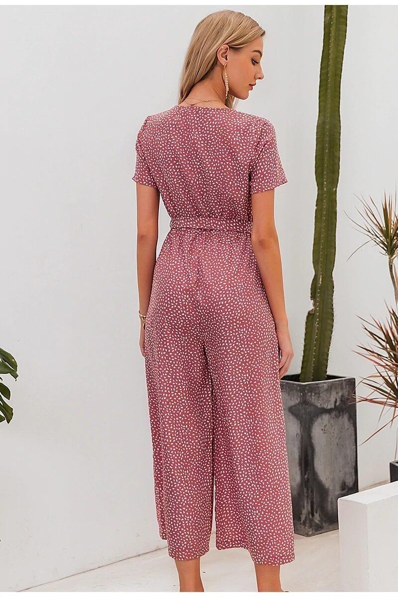 Vintage Polka Dot Wide Leg Pants V-neck High Waist Jumpsuit