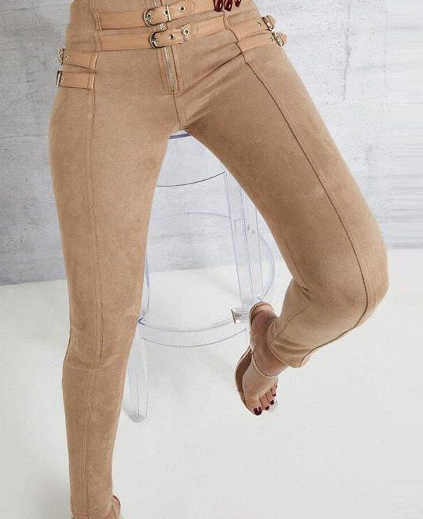 Suede Skinny Belt Buckle High Waist Pencil Pants