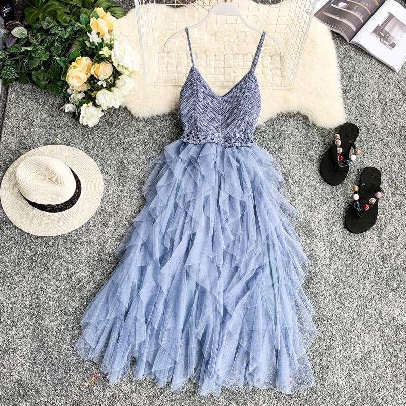 High Waist Mesh Hem Asymmetrical Pleated Tulle Dress