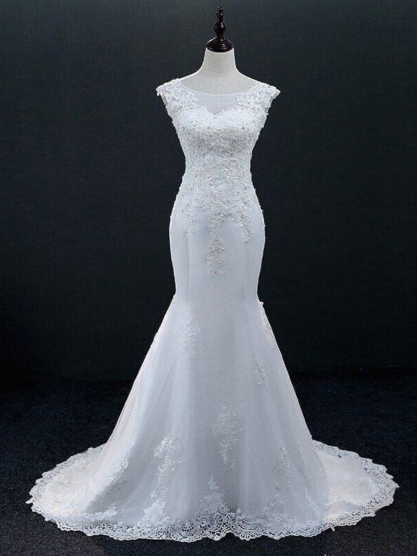 White Sleeveless Lace Mermaid Wedding Dress