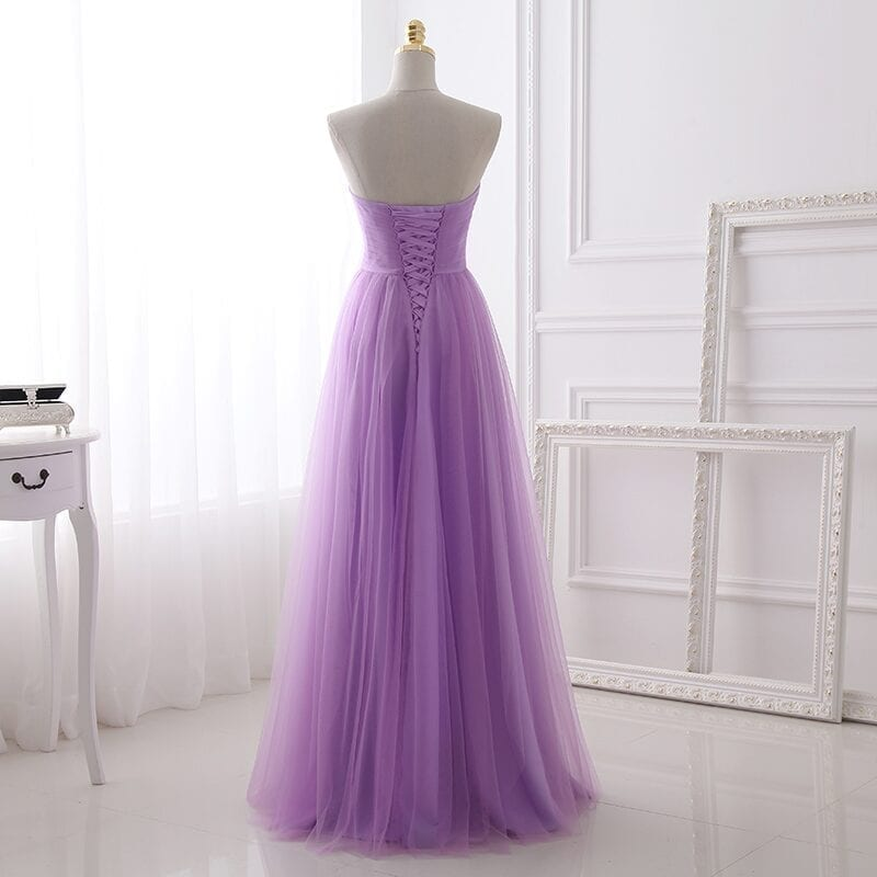 Lilac Tulle Sweetheart Pleat Long Bridesmaid Dress