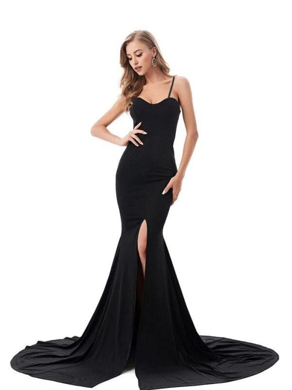 Strapless Split Front  Mermaid Sleeveless Elegant Dress