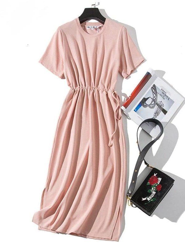 Pink Slit O-neck Short Sleeve Loose Ankle-length T-shirt Dress