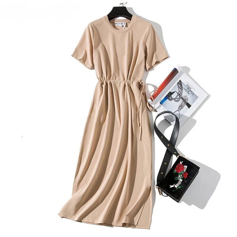 Pink Slit O-neck Short Sleeve Loose Ankle-length T-shirt Dress