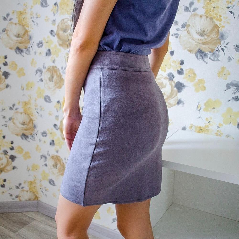 A-line Mini Suede Zipper Office Pencil Skirt