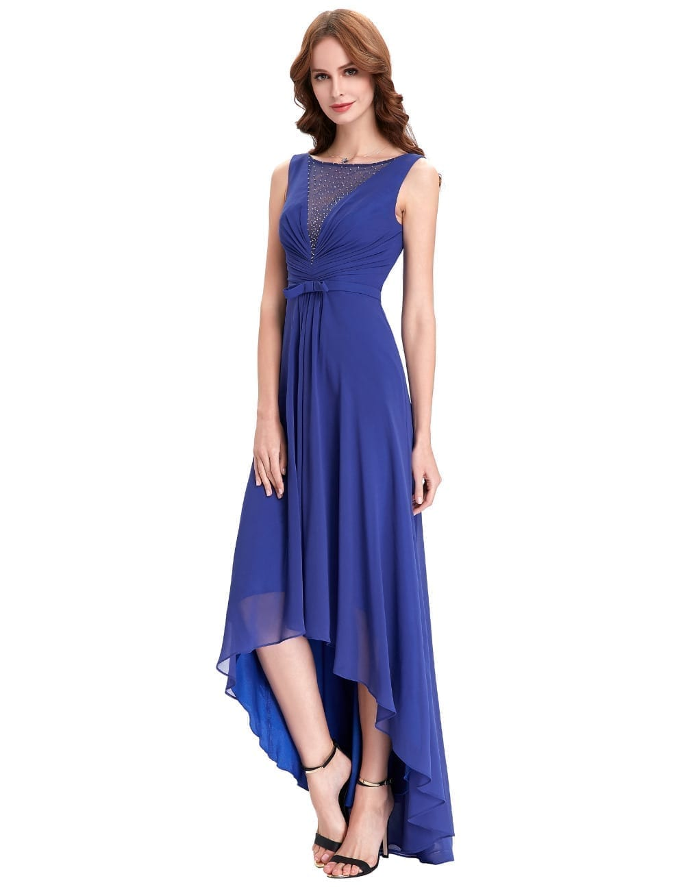 High low royal blue chiffon short front long back bridesmaid dress high low royal blue chiffon short front long back bridesmaid dress ombrellifo Image collections