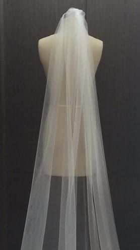 Cathedral Length Wedding Veil With Metal Comb 108 Inch 1
