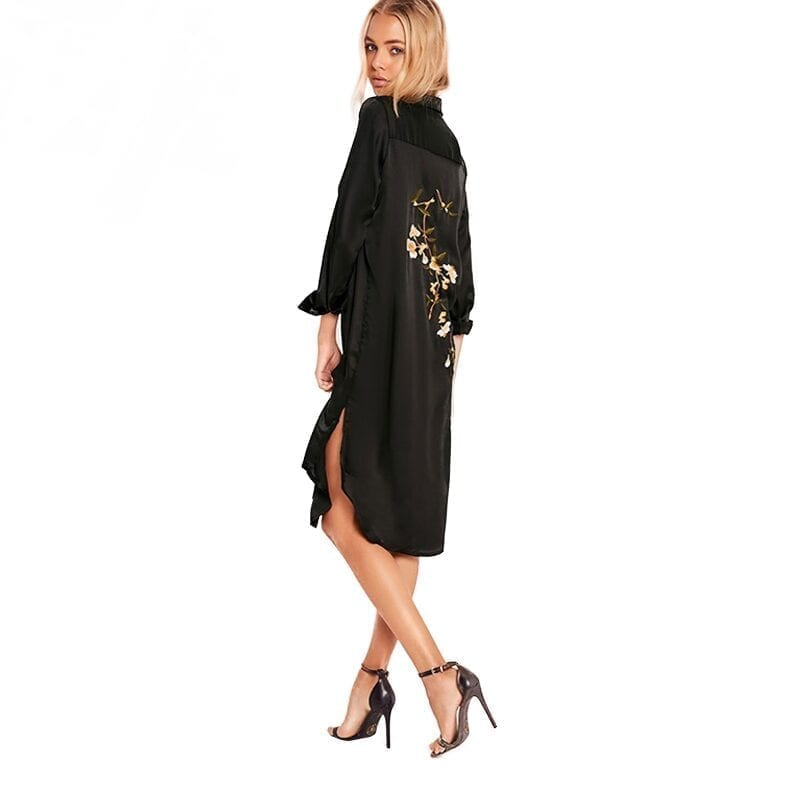 Black Long Sleeve Turn-down Collar Split Side Embroidery Loose Dress