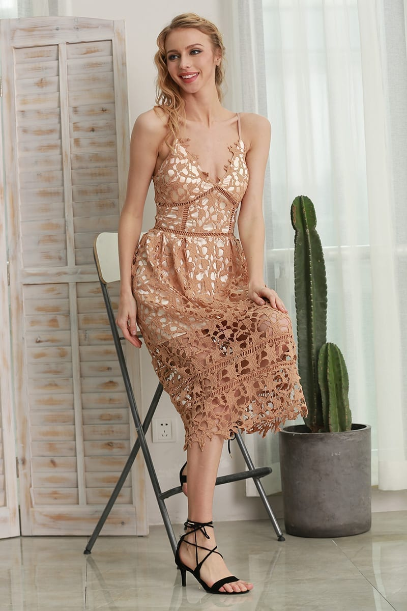 Hollow Out V-neck Lace Summer Dress