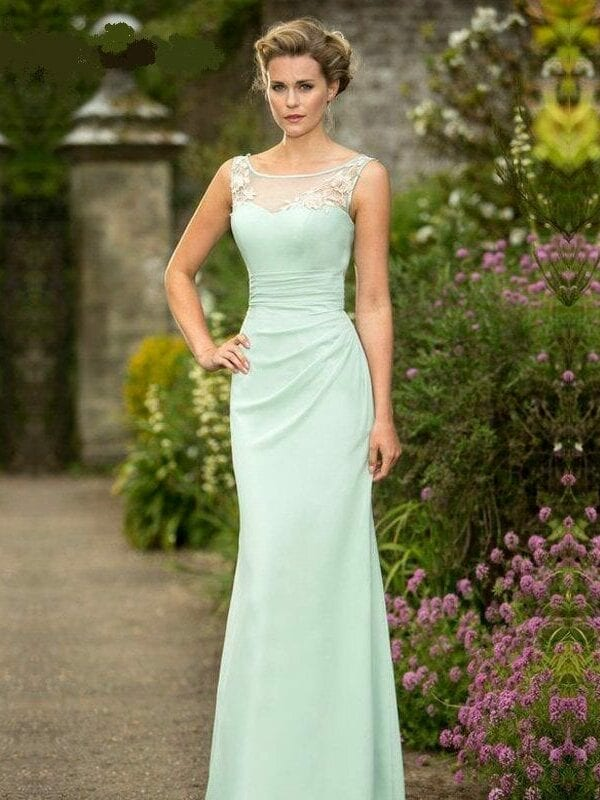 Mint Chiffon Lace Neck Floor Length Pleats Corset Elegant Long Bridesmaid Dress