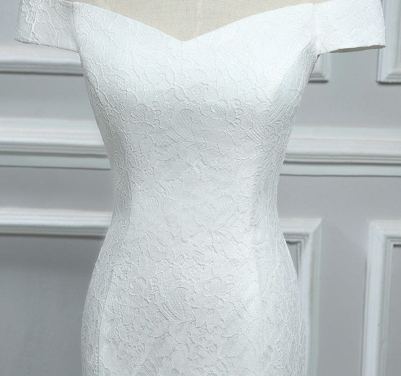 Elegant White Ivory Lace Mermaid Wedding Dress