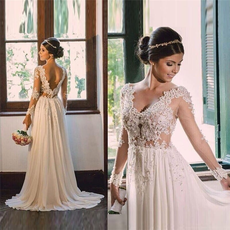Vintage lace long sleeve see through appliques v neck for Backless boho wedding dress