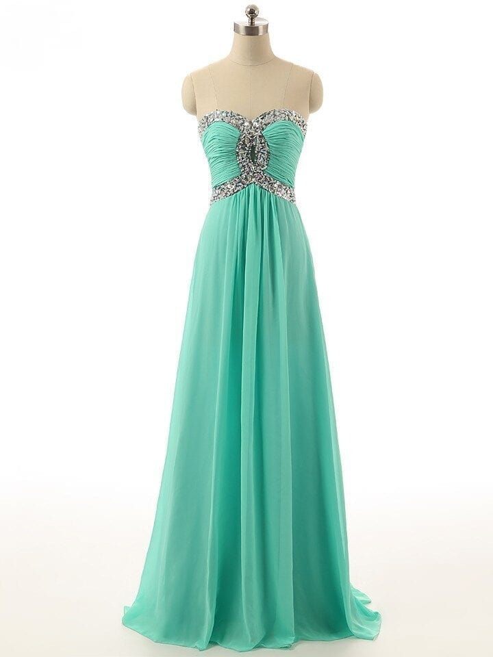 Sequins Beaded Sweetheart Long Chiffon Bridesmaid Dress 1