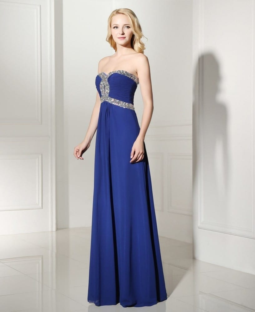Sequins Beaded Sweetheart Long Chiffon Bridesmaid Dress 4