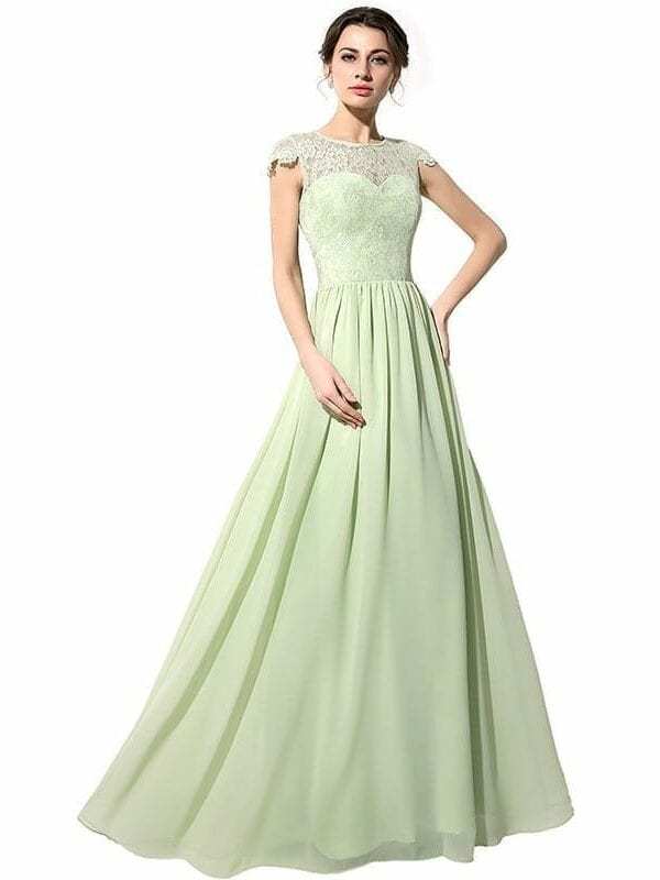 Green Long Lace Chiffon Bridesmaid Dress With Covered Button