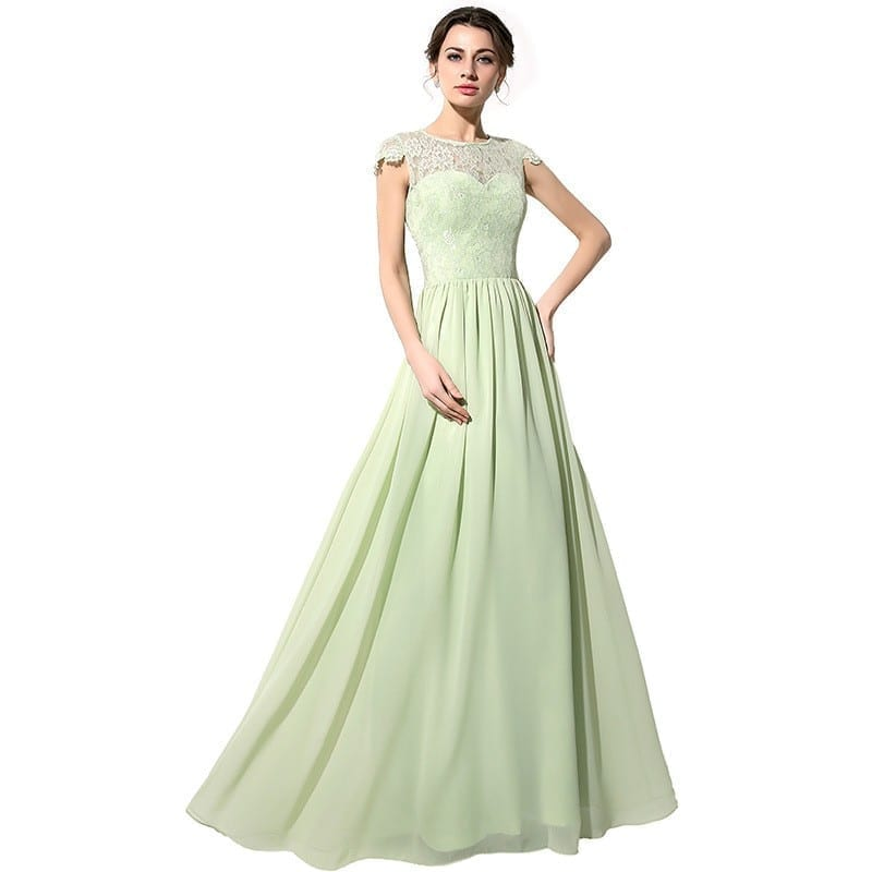 Green Long Lace Chiffon Bridesmaid Dress With Covered Button ...