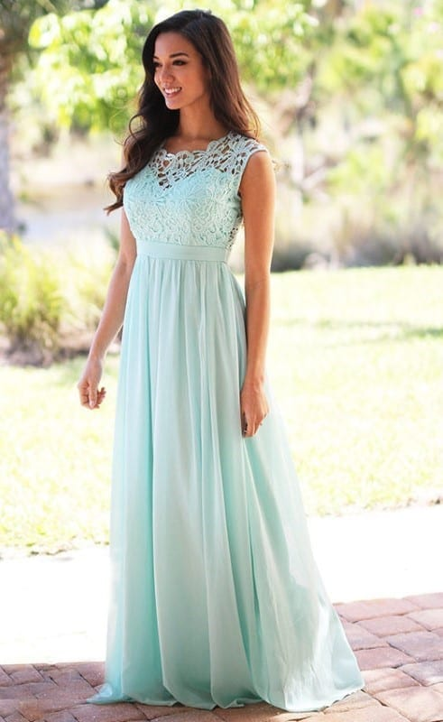 Elegant Mint Green Long Lace Chiffon Pleats Back Zipper Bridesmaid Dress 1