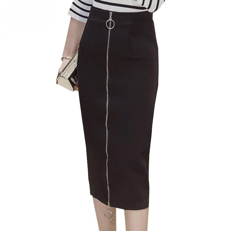 Elegant High Waist Zipper Work Office Bodycon Skirt
