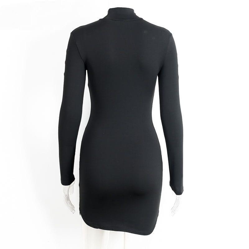 Elegant Black Long Sleeve Short Bodycon Dress