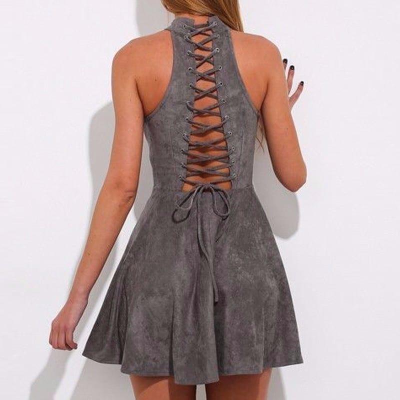 Gray Bandage A-line Off Shoulder Backless Solid Sleeveless Mini Dress