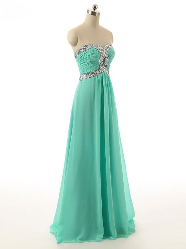 Sequins Beaded Sweetheart Long Chiffon Bridesmaid Dress 2