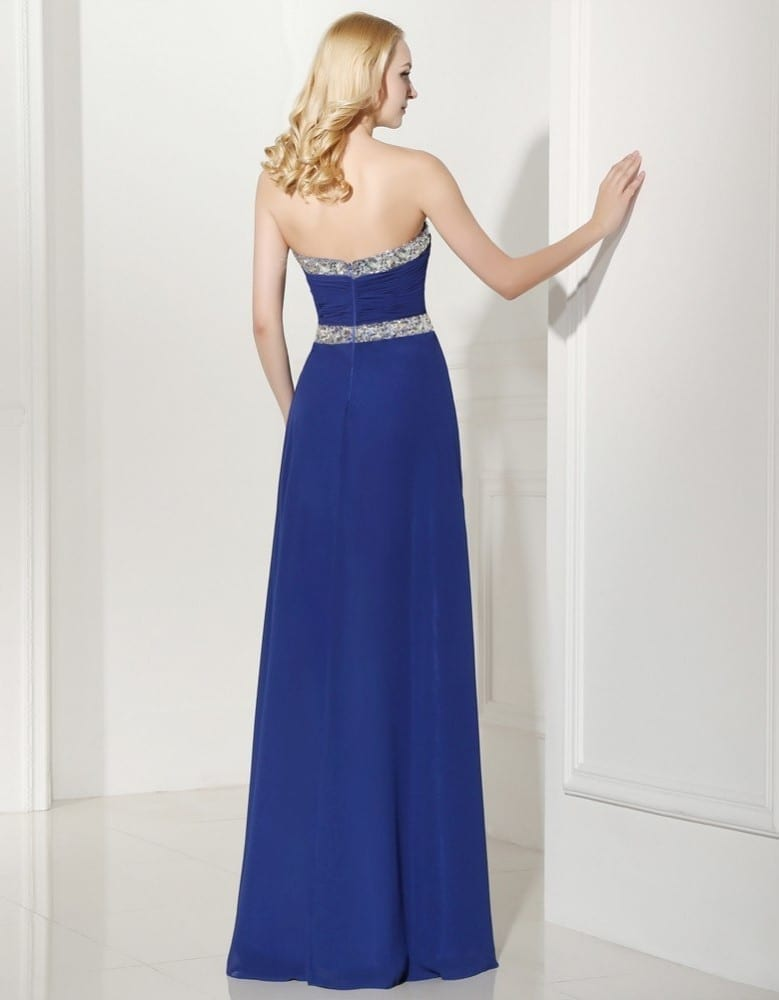 Sequins Beaded Sweetheart Long Chiffon Bridesmaid Dress 5