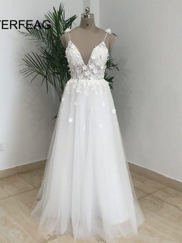 Spaghetti Straps Vintage Boho Backless White Tulle Beach Wedding Dress