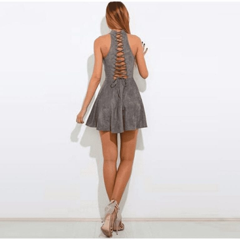 Gray Bandage A-line Off Shoulder Backless Solid Sleeveless Mini Dress