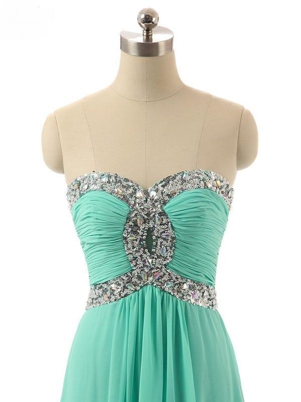 Sequins Beaded Sweetheart Long Chiffon Bridesmaid Dress 3