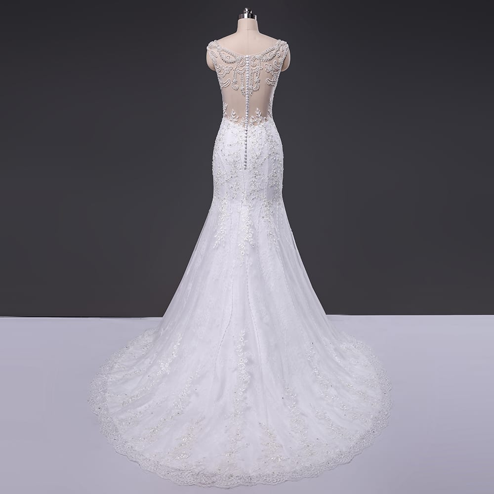 Elegant Beaded Cap Sleeve Backless Mermaid Wedding Dress