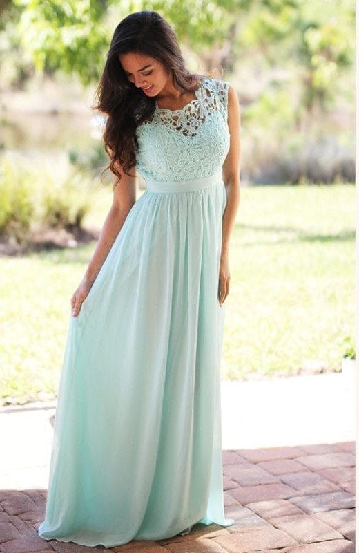 Elegant Mint Green Long Lace Chiffon Pleats Back Zipper Bridesmaid Dress