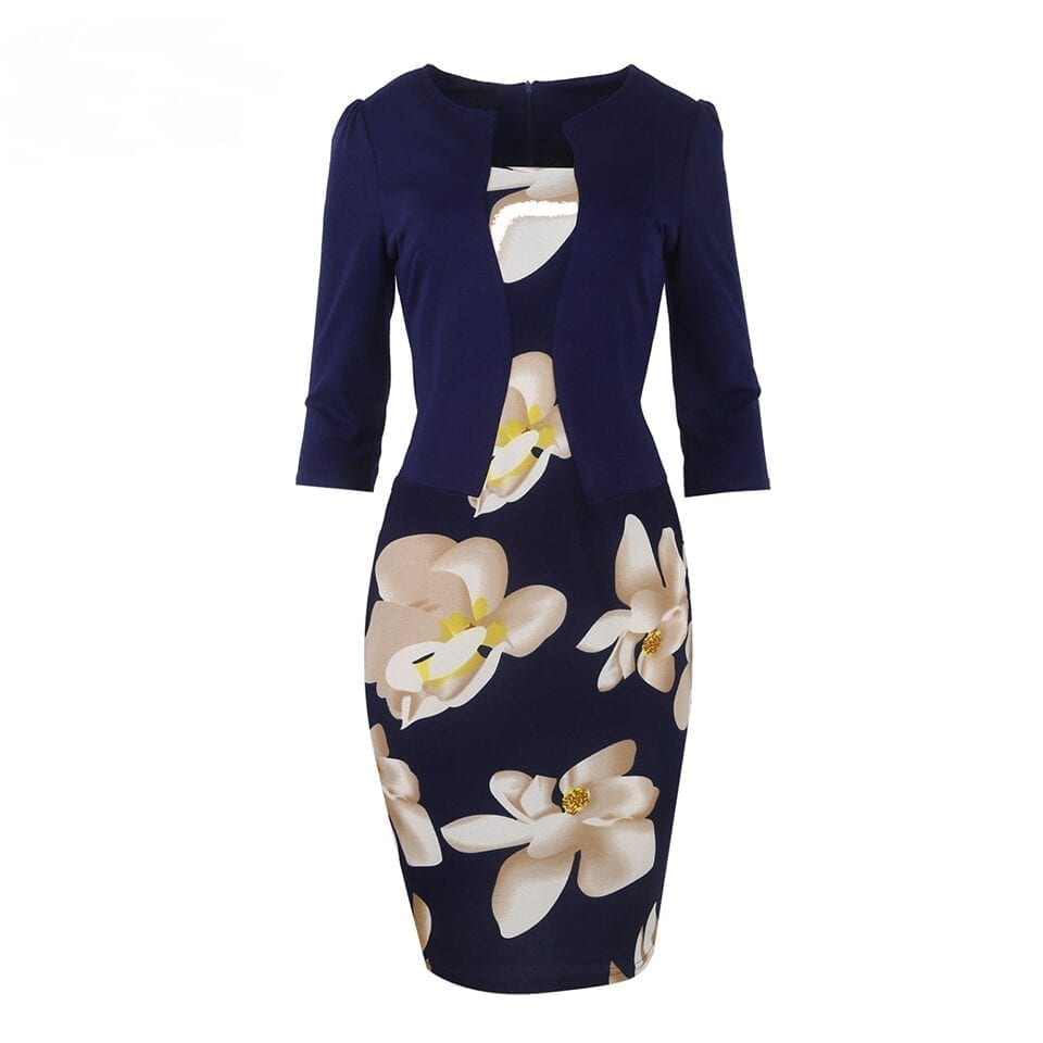One Piece Patchwork Floral Print Elegant Business Party Formal Office Bodycon Pencil Dress
