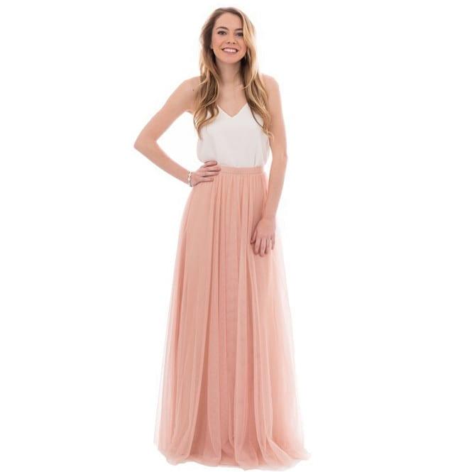 a line v neck tulle skirt bridesmaid dress