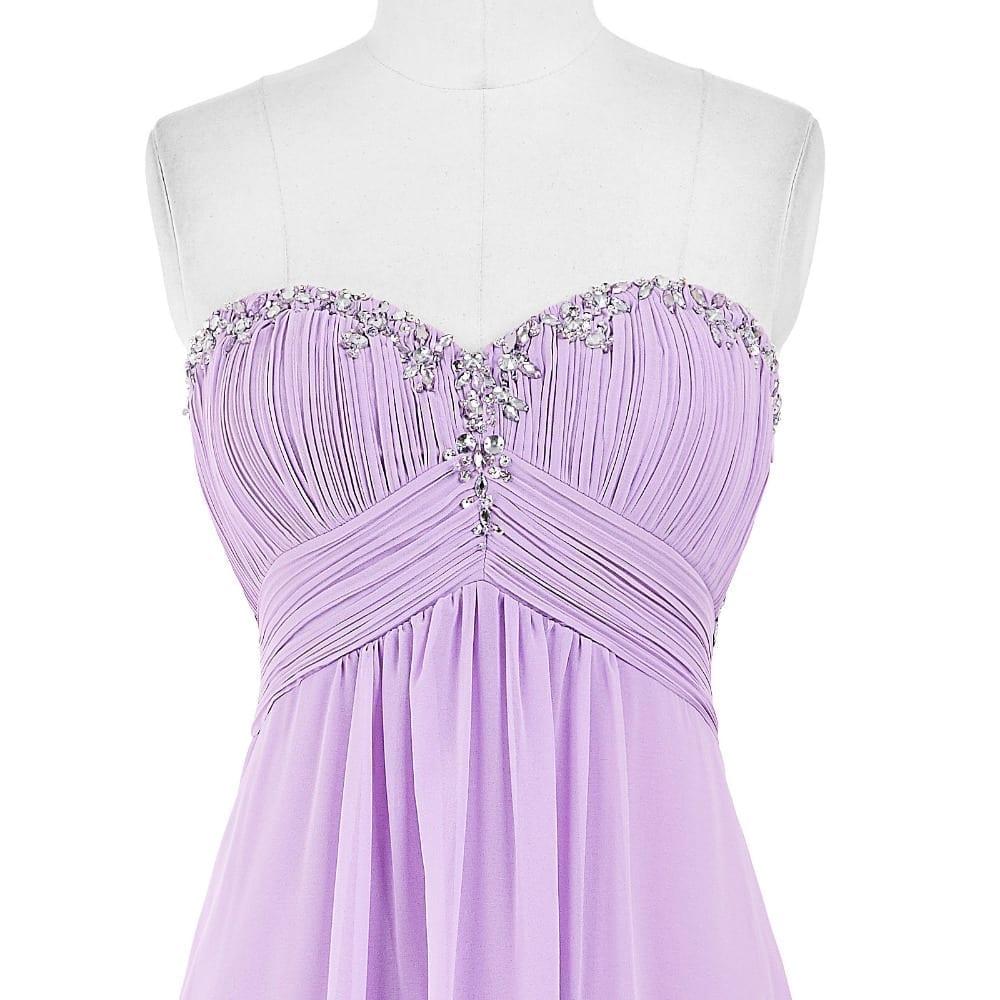 Lavender Green Royal Blue Long Chiffon Bridesmaid Dress