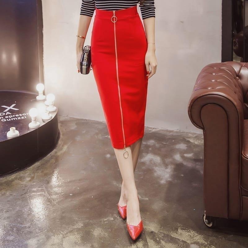 Elegant High Waist Zipper Work Office Bodycon Skirt