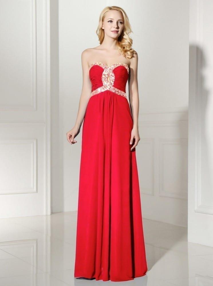 Sequins Beaded Sweetheart Long Chiffon Bridesmaid Dress