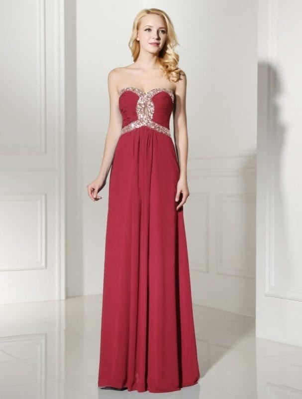 Sequins Beaded Sweetheart Long Chiffon Bridesmaid Dress