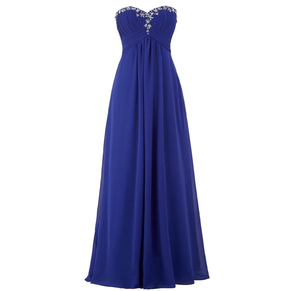 Lavender green royal blue long chiffon bridesmaid dress for Long blue dress for wedding