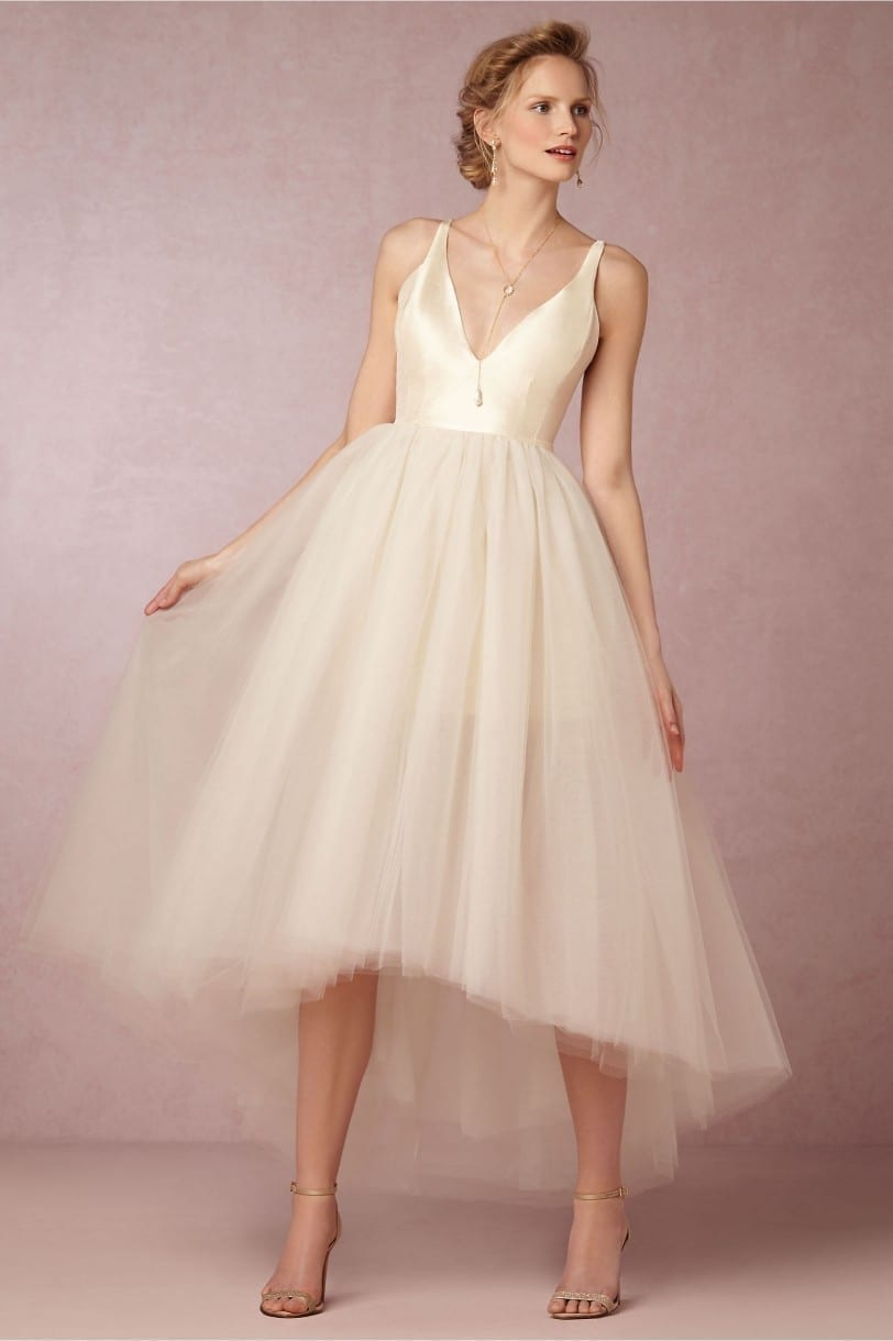 Hi-Lo V-Neck Backless Beach Tulle Ankle Length Maid Of Honor Bridesmaid Dress 2