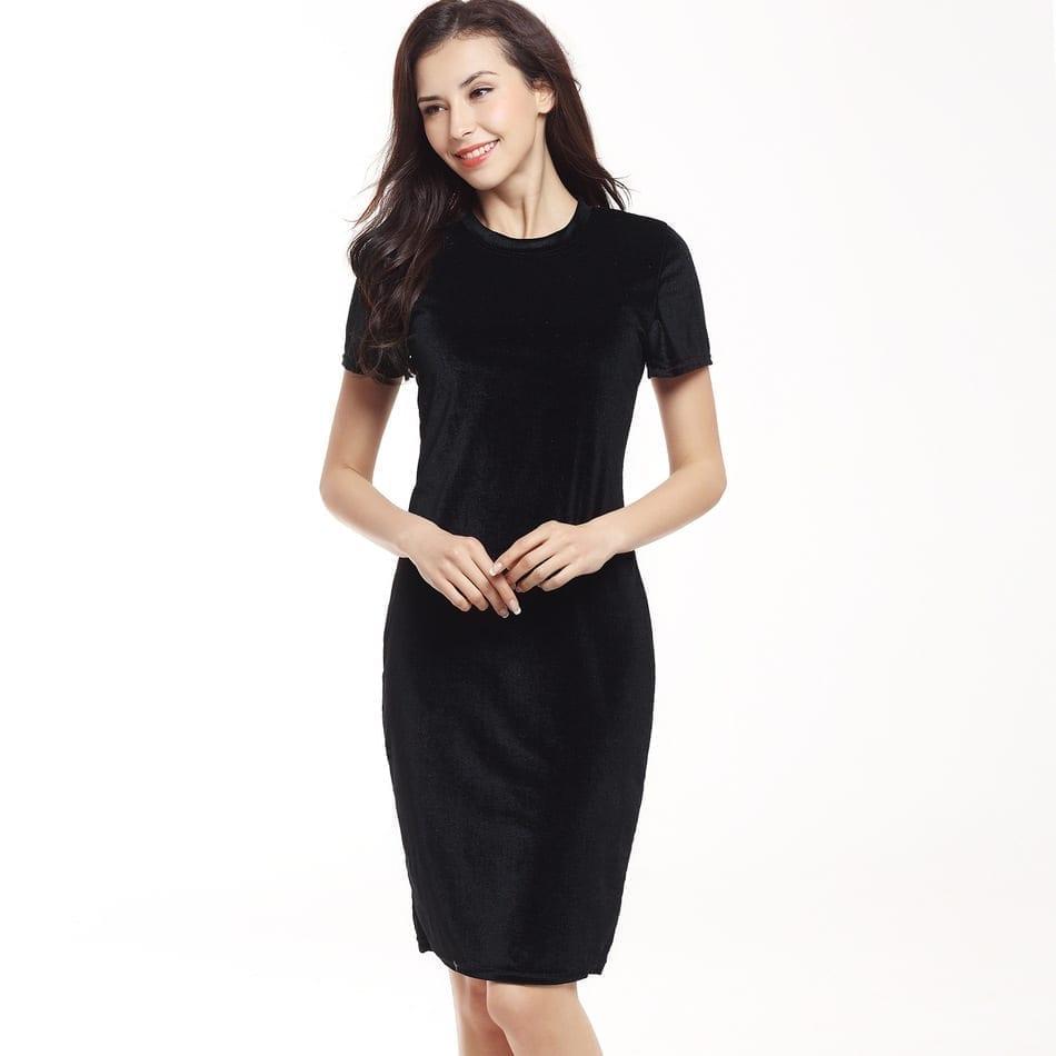 Velvet O-neck Short Sleeve Slim Pencil Office Work Knee Length Dress