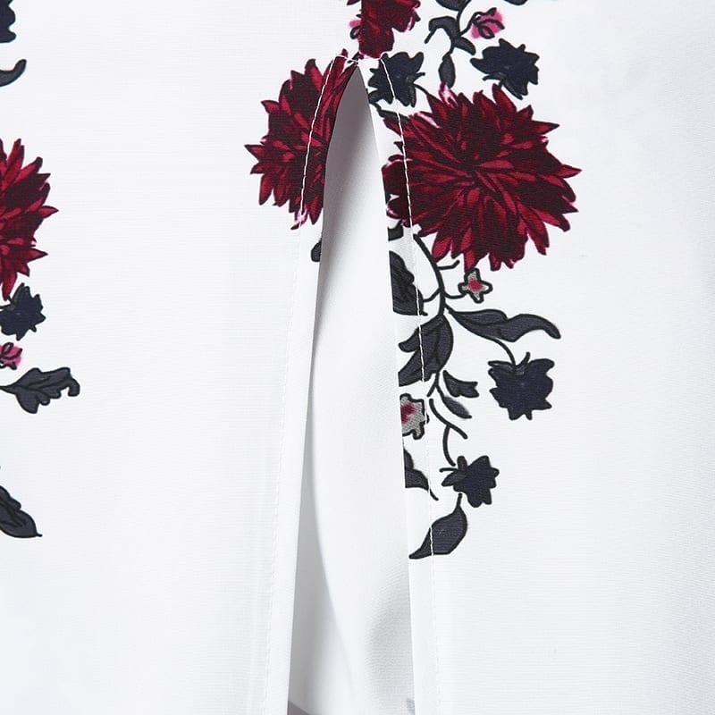 Print Slash Neck Off Shoulder Bohemian Split Beach Maxi Dress