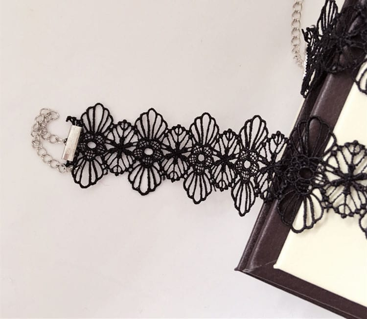 Black Lace Choker Necklace Boho Jewelry Set