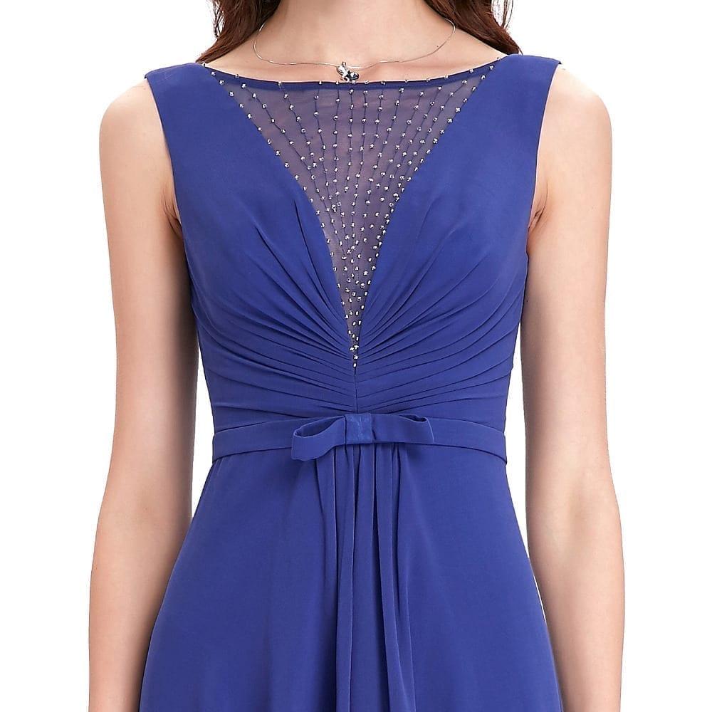 High Low Royal Blue Chiffon Short Front Long Back Bridesmaid Dress