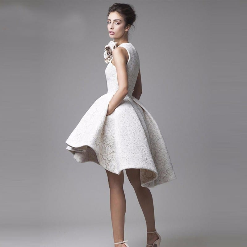1b7126c0af8 Little White Lace High Low High Neck Knee Length Puffy Prom Cocktail Dress