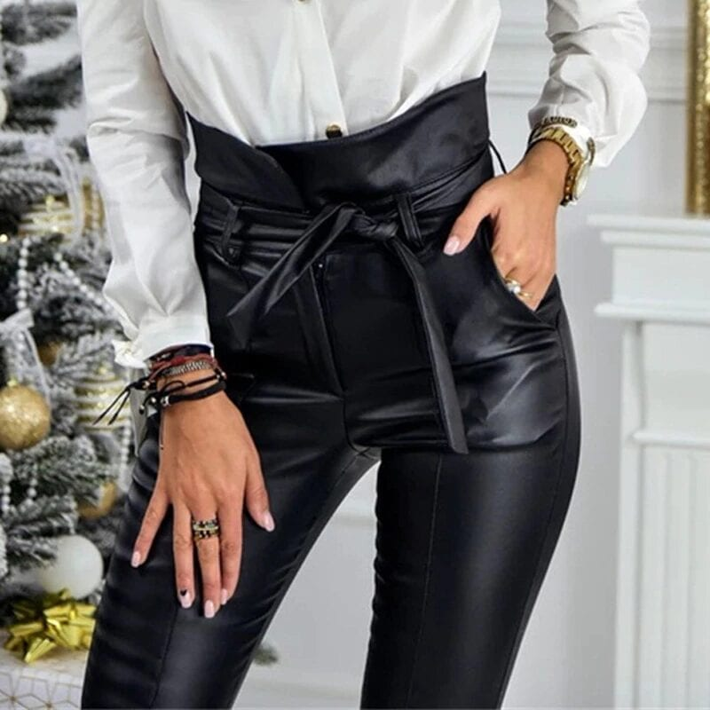 Gold Black High Waist Pocket Pencil Pants