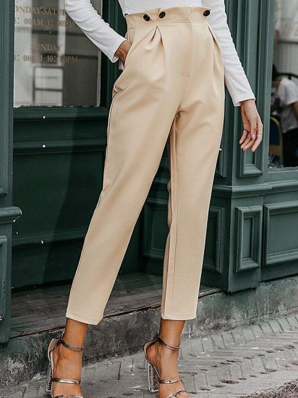 High Waist Office Loose Ankle-length Women Pants