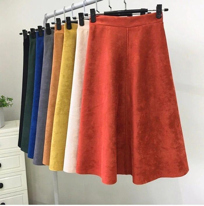 Vintage High Waist A-line Suede Skirt